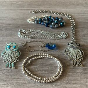Lot of 5 Silver Tone & Blue Necklaces